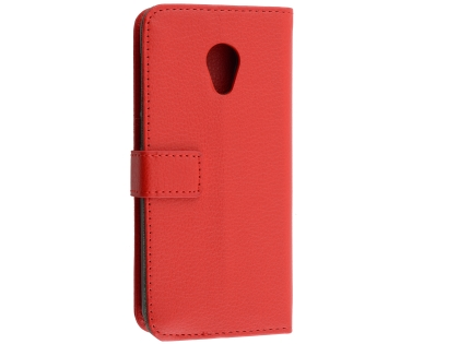 Synthetic Leather Wallet Case with Stand for Alcatel 1X - Red Leather Wallet Case