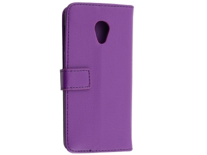 Synthetic Leather Wallet Case with Stand for Alcatel 1X - Purple Leather Wallet Case