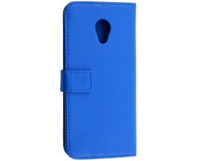 Synthetic Leather Wallet Case with Stand for Alcatel 1X - Blue Leather Wallet Case