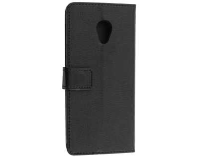 Synthetic Leather Wallet Case with Stand for Alcatel 1X - Black Leather Wallet Case