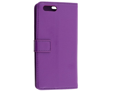 Synthetic Leather Wallet Case with Stand for OPPO AX5 - Purple Leather Wallet Case