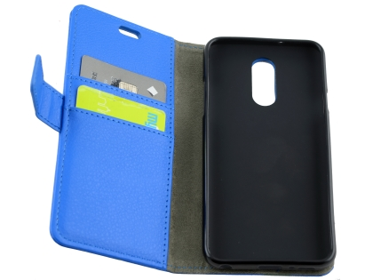 Synthetic Leather Wallet Case with Stand for LG Q7 - Blue