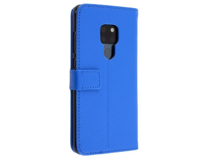 Synthetic Leather Wallet Case with Stand for Huawei Mate 20 - Blue Leather Wallet Case