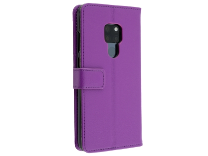 Synthetic Leather Wallet Case with Stand for Huawei Mate 20 - Purple Leather Wallet Case