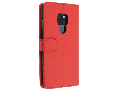Synthetic Leather Wallet Case with Stand for Huawei Mate 20 - Red Leather Wallet Case