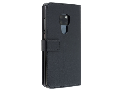 Synthetic Leather Wallet Case with Stand for Huawei Mate 20 - Black Leather Wallet Case