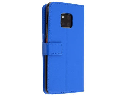Synthetic Leather Wallet Case with Stand for Huawei Mate 20 Pro - Blue Leather Wallet Case