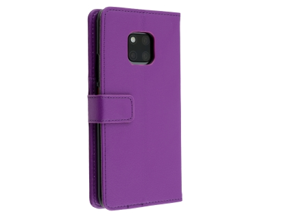 Synthetic Leather Wallet Case with Stand for Huawei Mate 20 Pro - Purple Leather Wallet Case