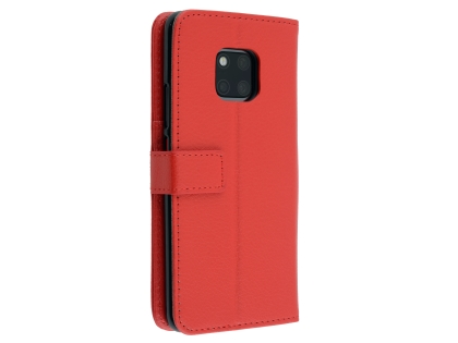 Synthetic Leather Wallet Case with Stand for Huawei Mate 20 Pro - Red Leather Wallet Case
