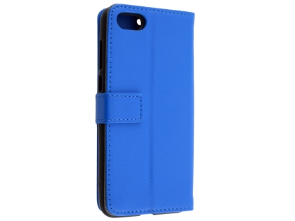 Synthetic Leather Wallet Case with Stand for Huawei Y5 Prime (2018) - Blue Leather Wallet Case