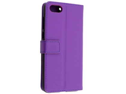 Synthetic Leather Wallet Case with Stand for Huawei Y5 Prime (2018) - Purple Leather Wallet Case