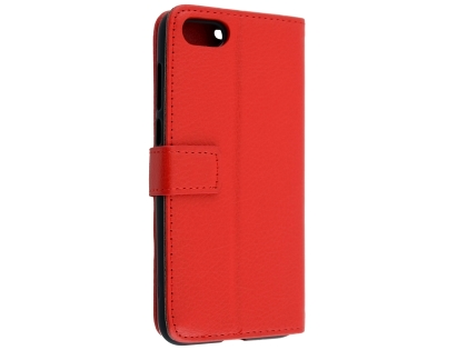 Synthetic Leather Wallet Case with Stand for Huawei Y5 Prime (2018) - Red Leather Wallet Case