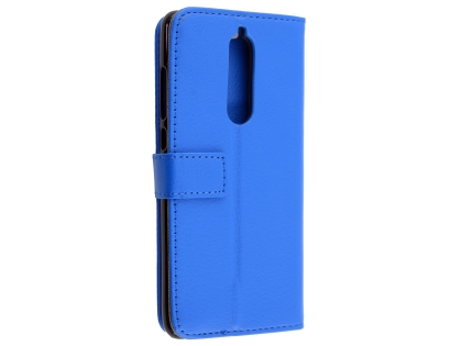 Synthetic Leather Wallet Case with Stand for Nokia 5.1 - Blue Leather Wallet Case