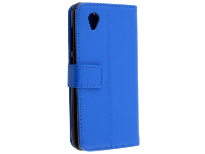 Synthetic Leather Wallet Case with Stand for Telstra Essential Plus - Blue Leather Wallet Case