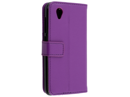 Synthetic Leather Wallet Case with Stand for Telstra Essential Plus - Purple Leather Wallet Case