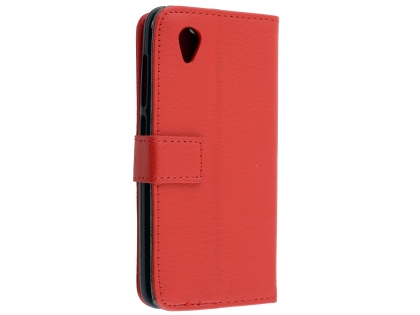 Synthetic Leather Wallet Case with Stand for Telstra Essential Plus - Red Leather Wallet Case