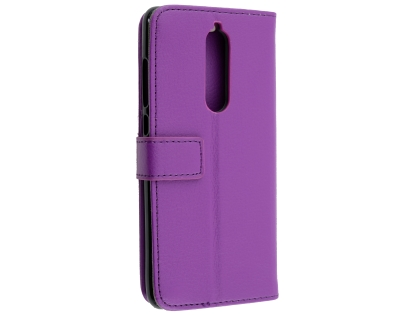 Synthetic Leather Wallet Case with Stand for Nokia 7.1 - Purple Leather Wallet Case