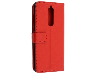 Synthetic Leather Wallet Case with Stand for Nokia 7.1 - Red Leather Wallet Case