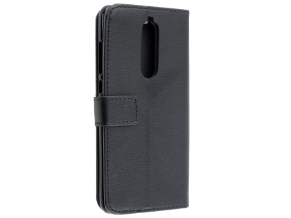 Synthetic Leather Wallet Case with Stand for Nokia 7.1 - Black Leather Wallet Case