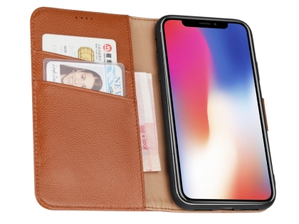 Premium Leather Wallet Case with Stand for Apple iPhone XR - Caramel
