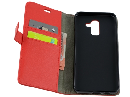 Synthetic Leather Wallet Case with Stand for Samsung Galaxy J8 - Red