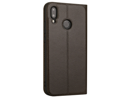 Top Grain Leather Case With Windows for Huawei Nova 3e - Brown Leather Case