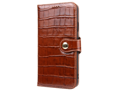 Crocodile Patterned Top-Grain leather Wallet Case for iPhone XR - Brown