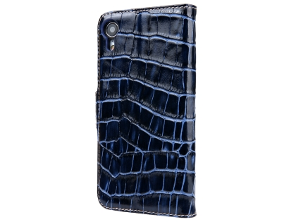 Crocodile Patterned Top-Grain leather Wallet Case for iPhone XR - Blue Leather Wallet Case