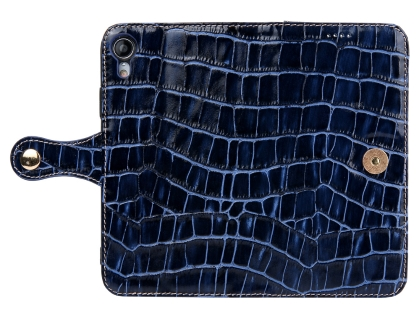 Crocodile Patterned Top-Grain leather Wallet Case for iPhone XR - Blue