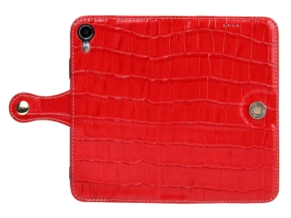 Crocodile Patterned Top-Grain leather Wallet Case for iPhone XR - Red