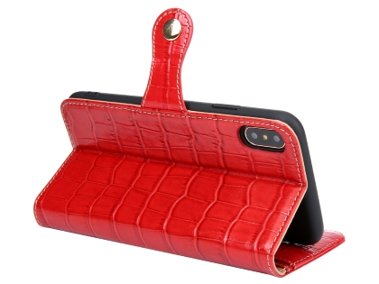 Crocodile Patterned Top-Grain leather Wallet Case for iPhone Xs/X - Red