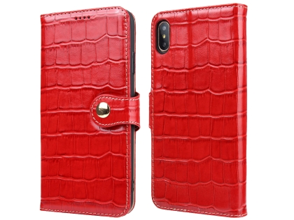 Crocodile Patterned Top-Grain Leather Wallet Case for iPhone Xs Max - Red