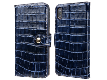 Crocodile Patterned Top-Grain Leather Wallet Case for iPhone Xs Max - Blue Leather Wallet Case