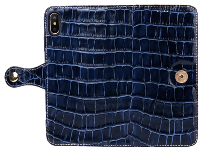 Crocodile Patterned Top-Grain Leather Wallet Case for iPhone Xs Max - Blue