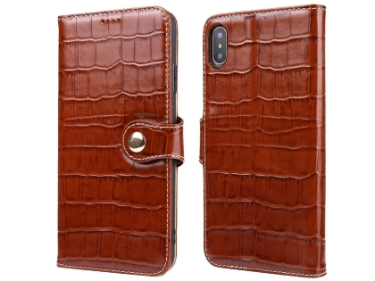 Crocodile Patterned Top-Grain Leather Wallet Case for iPhone Xs Max - Brown Leather Wallet Case