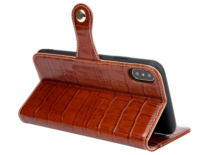 Crocodile Patterned Top-Grain Leather Wallet Case for iPhone Xs Max - Brown