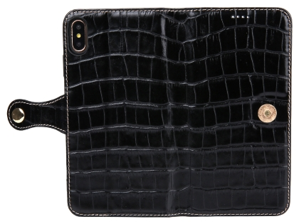 Crocodile Patterned Top-Grain Leather Wallet Case for iPhone Xs Max - Black