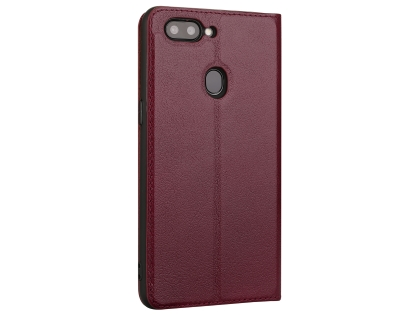 Top Grain Leather Case With Windows for OPPO R15 - Rosewood Leather Case