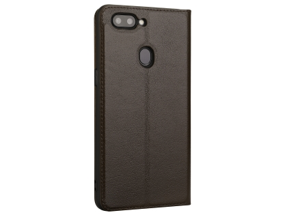 Top Grain Leather Case With Windows for OPPO R15 - Brown Leather Case