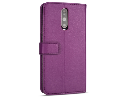 Synthetic Leather Wallet Case with Stand for OPPO R17 Pro - Purple Leather Wallet Case