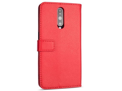 Synthetic Leather Wallet Case with Stand for OPPO R17 Pro - Red Leather Wallet Case