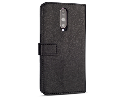 Synthetic Leather Wallet Case with Stand for OPPO R17 Pro - Black Leather Wallet Case