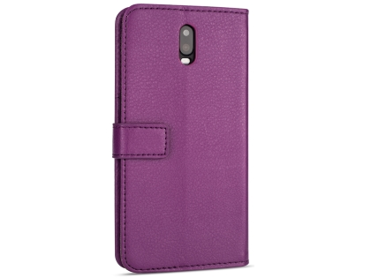 Synthetic Leather Wallet Case with Stand for OPPO R17 - Purple Leather Wallet Case