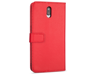 Synthetic Leather Wallet Case with Stand for OPPO R17 - Red Leather Wallet Case