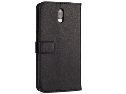 Synthetic Leather Wallet Case with Stand for OPPO R17 - Black Leather Wallet Case