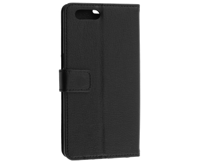 Synthetic Leather Wallet Case with Stand for OPPO A3s - Black Leather Wallet Case