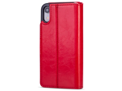 2-in-1 Synthetic Leather Wallet Case for iPhone XR - Red Leather Wallet Case