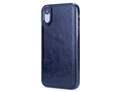 2-in-1 Synthetic Leather Wallet Case for iPhone XR - Midnight Blue