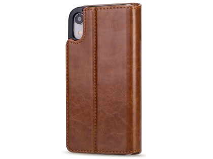 2-in-1 Synthetic Leather Wallet Case for iPhone XR - Brown Leather Wallet Case