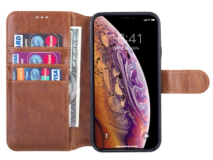 2-in-1 Synthetic Leather Wallet Case for iPhone XR - Brown